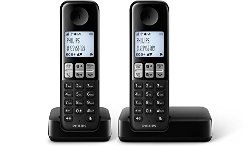 Philips - Teléfono (Escritorio, Negro, 50/60, AAA, Polifónico, Digital)