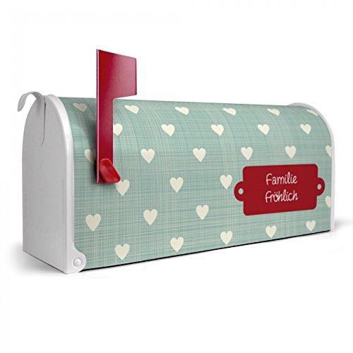 BANJADO US Mailbox | Amerikanischer Briefkasten 51x22x17cm | Letterbox Stahl weiß | mit Motiv WT Muster Herzen, Briefkasten:ohne Standfuß