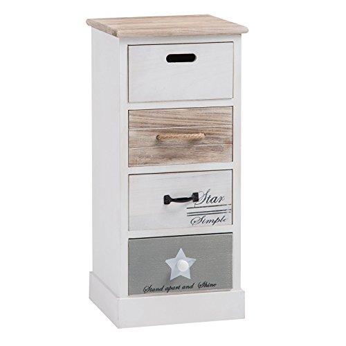 Schubladenregal SALVA Kommode Standregal Aufbewahrungsregal in weiß, Shabby Chic Vintage Look, mit 4 Schubladen
