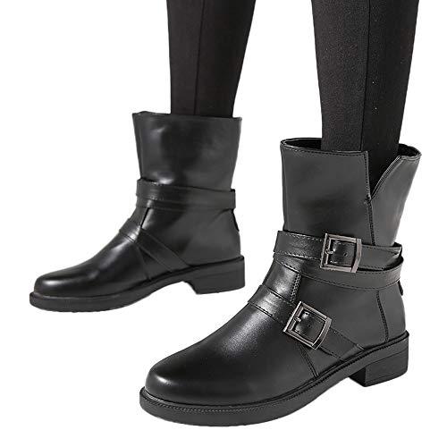 TianWlio Damen Stiefel Stiefeletten Frauen Flache Kurze Stiefel Schnalle Leder Martin Stiefel Schuhe...