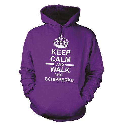 Keep Calm And Walk The Schipperke Dog Felpa con cappuccio felpa con cappuccio Unisex Rosa