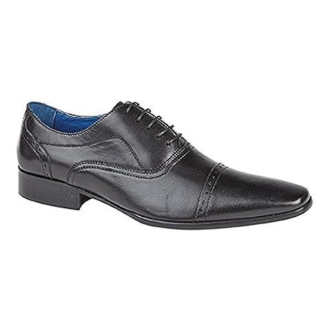 Roamers Herren 5 Ösen Punch Cap Leder Oxford Schuhe (9 UK/43 EU) (Schwarz) (Leder Oxford Cap)