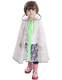 Hzjundasi Enfants Transparent Vêtements de pluie Respirant Encapuchonné Poncho Cloak Raincoat Kids Sac d'école Siège Rain Suit