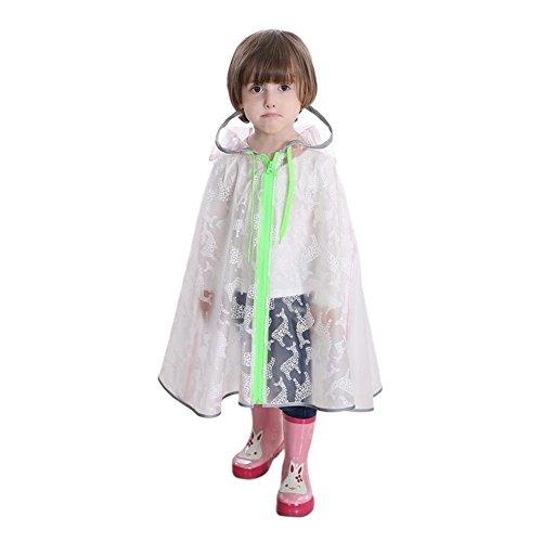 nsparent Regenbekleidung Atmungsaktiv Mit Kapuze Poncho Umhang Regenmantel Kids Schultasche Sitz Regen Anzug (Farbe:Weiß,Größe:L) (Glas-hausschuhe Für Mädchen)