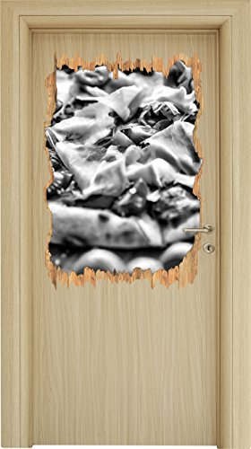 Stil.Zeit Monocrome, Leckere Pizza mit Parmaschinken Holzdurchbruch im 3D-Look, Wand- oder Türaufkleber Format: 92x62cm, Wandsticker, Wandtattoo, Wanddekoration