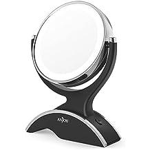 Espejo de Maquillaje con Luz, Portable sin Cables, Anjou Espejo de Maquillaje LED Doble Cara 7X, Rotación de 360°, con 3x Baterías AA Gratis