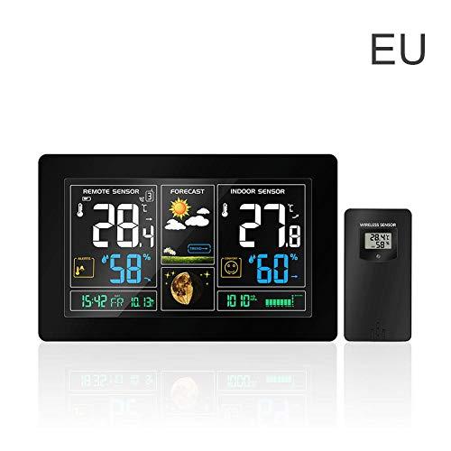 Wetterstation mit Außensensor Wireless, großer Farbbildschirm Funkuhr Innen-Außentemperatur Thermometer Luftfeuchtigkeit Max Min Kalender Multifunktions