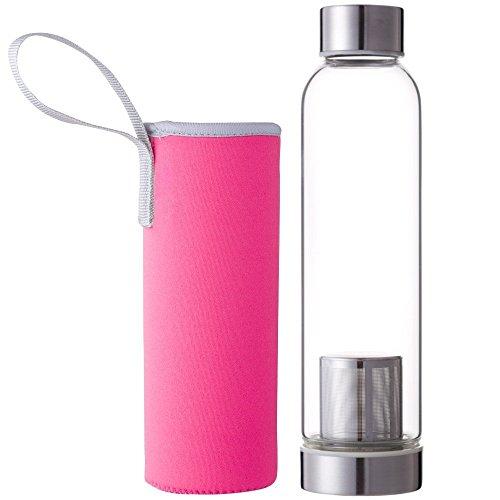 Hosaire Portable Cristal Botella con infusor de té y protector de fun