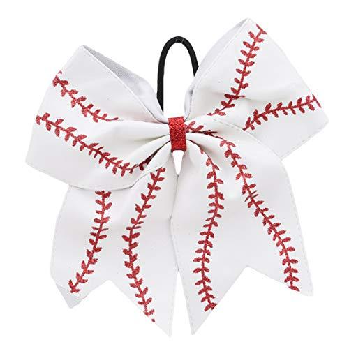 r Schleife Haar Kreis Softball Fußball Cheerleading Gummi Band Kopf Schmuck, weiß, Siehe Produktbeschreibung ()