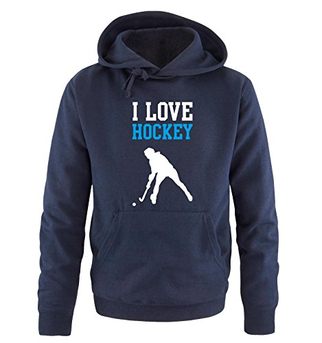 Comedy Shirts I Love Hockey - Herren Hoodie - Navy/Weiss-Blau Gr. M - Hockey Mom-shirt
