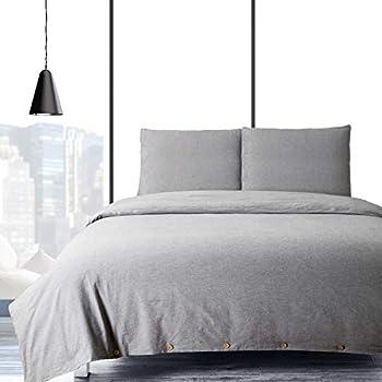 Bedsure Baumwolle Bettwäsche 155x220cm Grau Bettbezug Mit