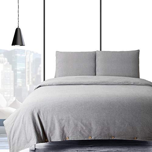 BEDSURE Baumwolle Bettwäsche 135x200cm Grau Bettbezug mit Kissenbezug 2-teilig Bettwäsche Set mit Knopfverschluss Super Weiche Atmungsaktive Hypoallergen Bettwäsche Garnitur