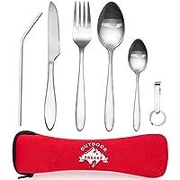 OUTDOOR FREAKZ Cubiertos para cámping - Vajilla de exteriores de acero inoxidable con bolsa de neopreno (rojo +)