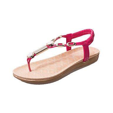 Absatz Red flacher komfort büro sandalen Weiß Rot pu Lvyuan Kleid Damen Lässig schwarz H4xqCS