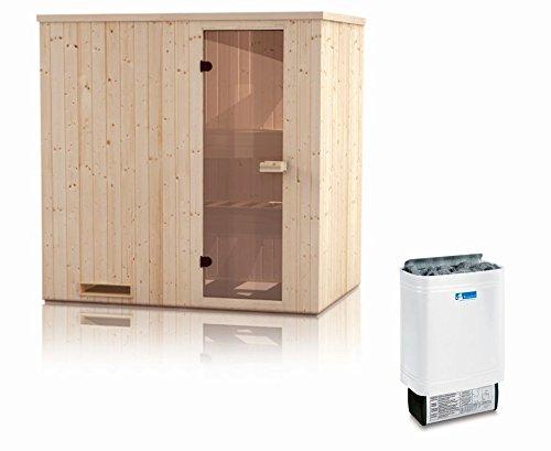 Elementsauna Gobi 60 mm mit Dachkranz inkl. 8 kW Saunaofen - Außenmaße (B x T x H): 200 x 200 x...