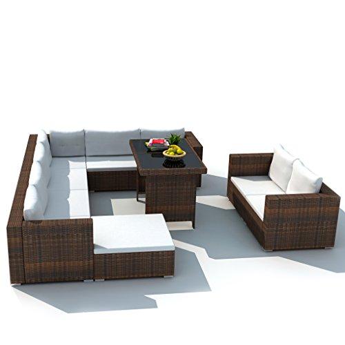 Festnight 28-tlg. Garten Essgruppe Lounge-Set Gartensofa Gartenlounge Loungegruppe aus Rattan...