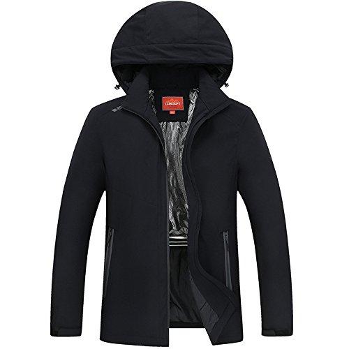 DYF Mantel, Jacke eingedickte Farbe Größe Hut Tasche mit Reißverschluss, Schwarz, 4XL