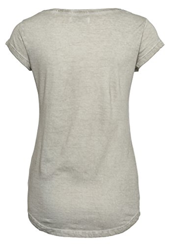 Sublevel Damen Shirt mit Wendepailletten & Vogel Motiv | Elegantes Basic T-Shirt light-beige