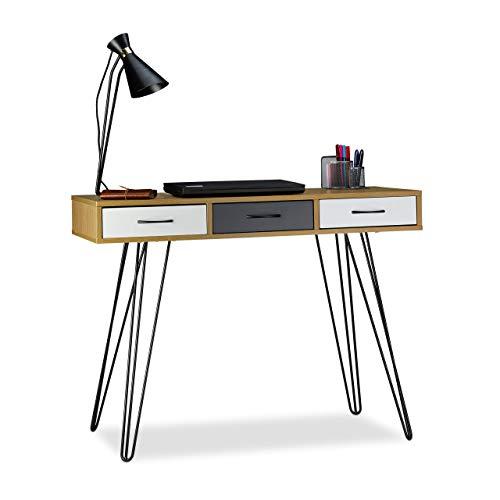 Relaxdays Designer Schreibtisch, 3 Schubladen, modernes Design, Computertisch, HxBxT: 75 x 100 x 50 cm, braun-weiß-grau