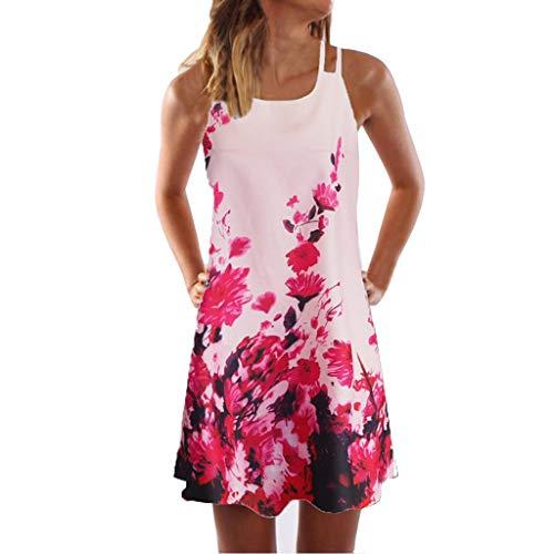VEMOW Sommer Elegante Damen Frauen Lose Vintage Sleeveless 41D Blumendruck Bohe Casual Täglichen Party Strand Urlaub Tank Short Mini Kleid (Ebay Kleider)