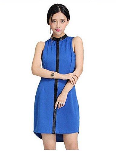 PU&PU Robe Aux femmes Gaine Simple,Couleur Pleine Col Ras du Cou Au dessus du genou Acrylique / Polyester BLUE-2XL