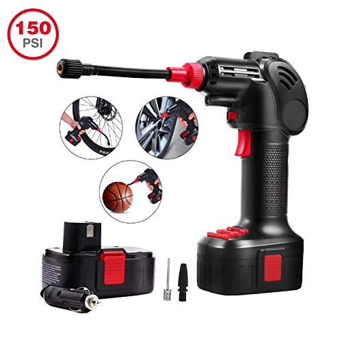 Schafter Cordless Tire Inflator Portable Air Compressor Pump Electric Power Inflator Hand Held Pump with Li-ion 12V 150PSI 55L/min Built in LED Light