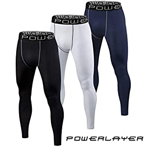 PowerLayer Herren Thermo Kompressionshose / Sportleggings