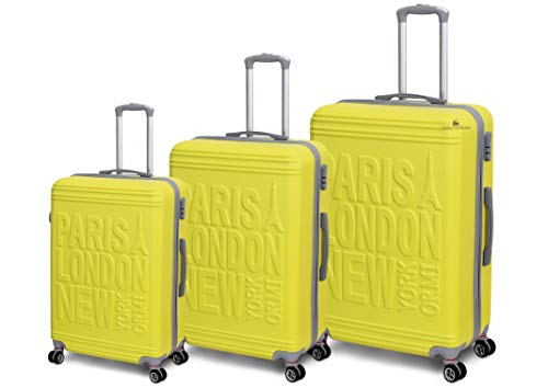 Set 3 Trolley ORMI con 8 RUOTE in ABS Rigido Con Bagaglio a Mano Mod.:1128 (Giallo)