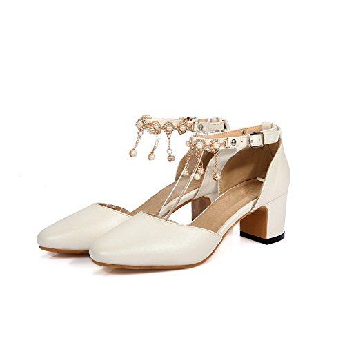 AllhqFashion Damen Mittler Absatz Eingelegt Schnalle Quadratisch Zehe Pumps Schuhe Weiß