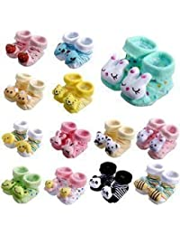 ShopCash Cute Cartoon Face Fancy Booties Socks (Assorted, 0-3 Months) for Babies (Multicolor, Pack of 2)