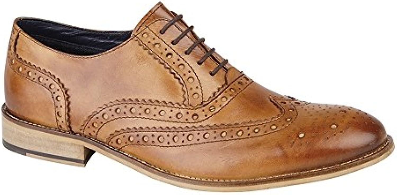 Roamers Herren Leder Brogue Oxford Schuhe