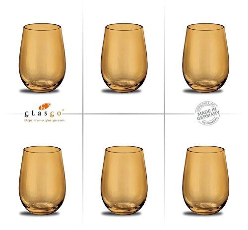 Prime-Versand: Design Trinkglas, Farbe Amber, Universalglas, Weinglas, Wasserglas, 6er Set Gläser...