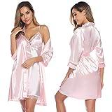 Aibrou Damen Einfarbige Chemise und Robe 2 Stück Set, Nachtkleid und Kimono Set Rosa S
