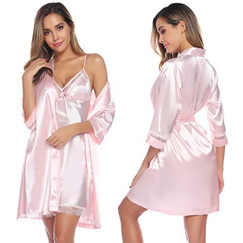 Aibrou Damen Einfarbige Chemise und Robe 2 Stück Set, Nachtkleid und Kimono Set Rosa M -