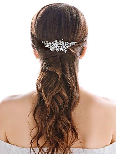 Handcess Hochzeits-Haarkamm mit weißen Opal-Strasssteinen und Kristallen, mit einem kleinen Blau-Ton - Brautschmuck, Hochzeits-Haarschmuck