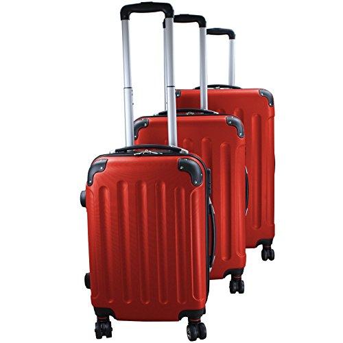 Set di 3 valigie rigidi trolley da viaggio Experience 2.0 360° ruote doppie di BB Sport Set di 3 valigie rigidi trolley da viaggio Experience 2.0 360° ruote doppie, Colore:voyage red