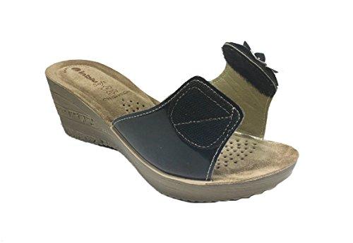 Sandali donna casual senza cinturino in VERA PELLE con zeppa comoda IN BLU GZ22 Nero