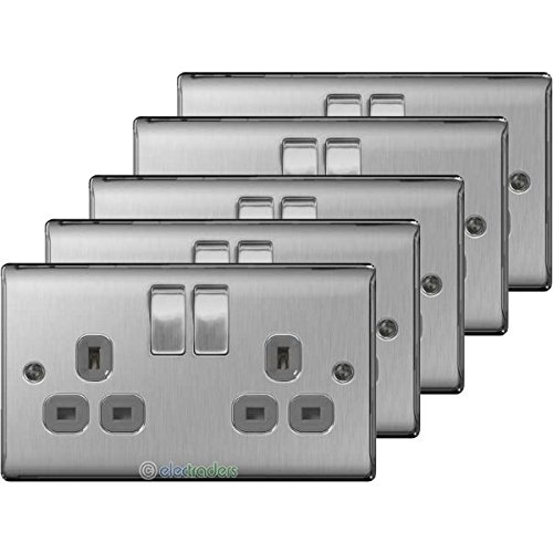 5-x-bg-nbs22g-twin-13a-switch-socket-outlets-brushed-steel-satin-chrome