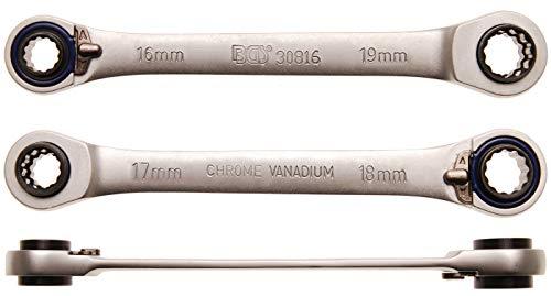 Bgs Clé à cliquet, 4 en 1, 16 x 17 et 18 x 19 mm, 1 pièce, 30816