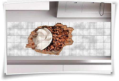Medianlux Fliesenaufkleber Aufkleber Wanddurchbruch Kaffee Kaffeebohnen Tasse Sticker Küche, 150x100cm, eigene Größe