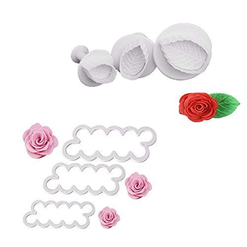G.YO Moldura de rosas y hojas 3D pétalos cortador de pasteles Flor fondant glaseado herramienta de decoración molde DIY hornear accesorios, 6 piezas