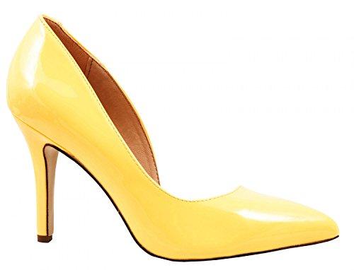 Elara Spitze Damen Pumps | Bequeme Lack Stilettos | Elegante High Heels | chunkyrayan G70027-Gelb-38