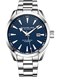 Stuhrling Original Mens Watch Analog Dial with Date - Calfskin Leather Strap or Stainless Steel Bracelet, 3953 Watches for Men Collection (Stainless Steel/Blue)