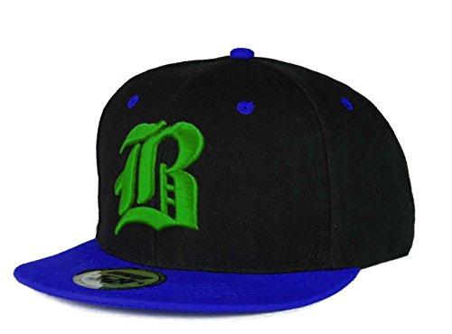 Casquette de Baseball SnapBack Bonnet Cap Chapeau Snap back 3D Gothique B Hip-Hop ( B Blue Green)