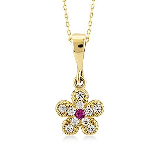 Damen Halskette 14 Karat in 585 Echt Gelbgold mit rote und weiße steinige Blume mit Zirkonia als Anhänger - Kette größe 45cm