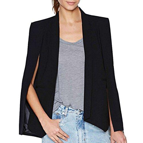 LAEMILIA Women Business Office Blazer Suit Jacket Chic Lapel Split Long Sleeve Cape Fashion Workwear Coat