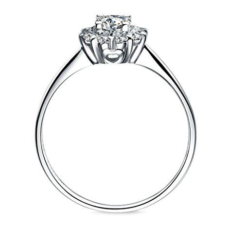Bishilin S925 Sterling Silber Runde Cubic Zirkonia Schneeflocke Verlobungsring Halo Größe 52 (16.6)