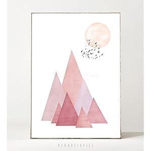 Kunstdruck / Poster SOL -ungerahmt- Berge, Himmel, abstrakt, Vögel, minimalistisch, skandinavisch, Sonne, Landschaft...