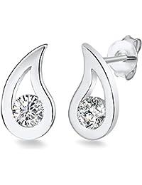 Rafaela Donata Damen-Ohrhänger 925 Silber rhodiniert Zirkonia schwarz - Silber-Ohrstecker in Tropfen-Form mit weißen Zirkonia 60903029