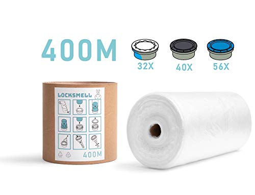 LOCKSMELL Nappy Bin Liner (400m) Compatible with Tommee Tippee Sangenic, Angelcare & Litter Locker II cartridges| Equivalent to 56 Angelcare, 40 Litter Locker II, 32 Sangenic Refills + REFILL TUBE